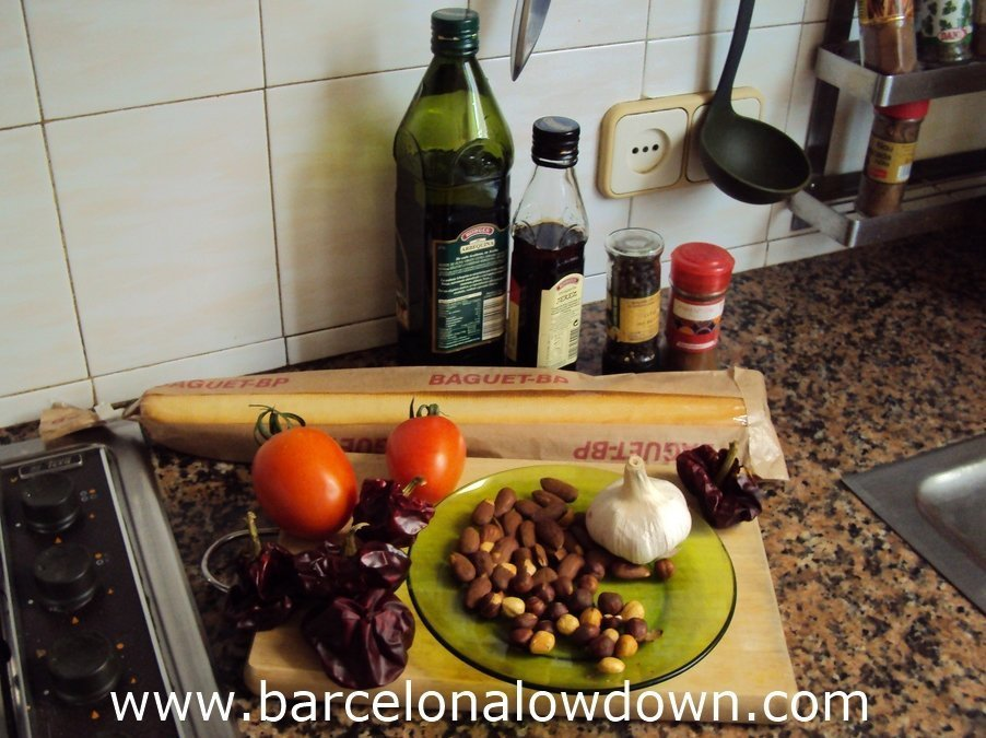 The ingredients for Romesco sauce in my kitchen in Barcelona