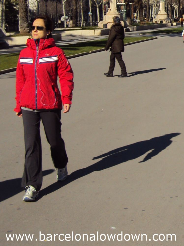 photo of a young woman showing what to wear in Barcelona in february