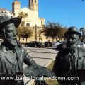 Statue of Santiago Rusiñol and Ramon Casasnear the beach in Sitges