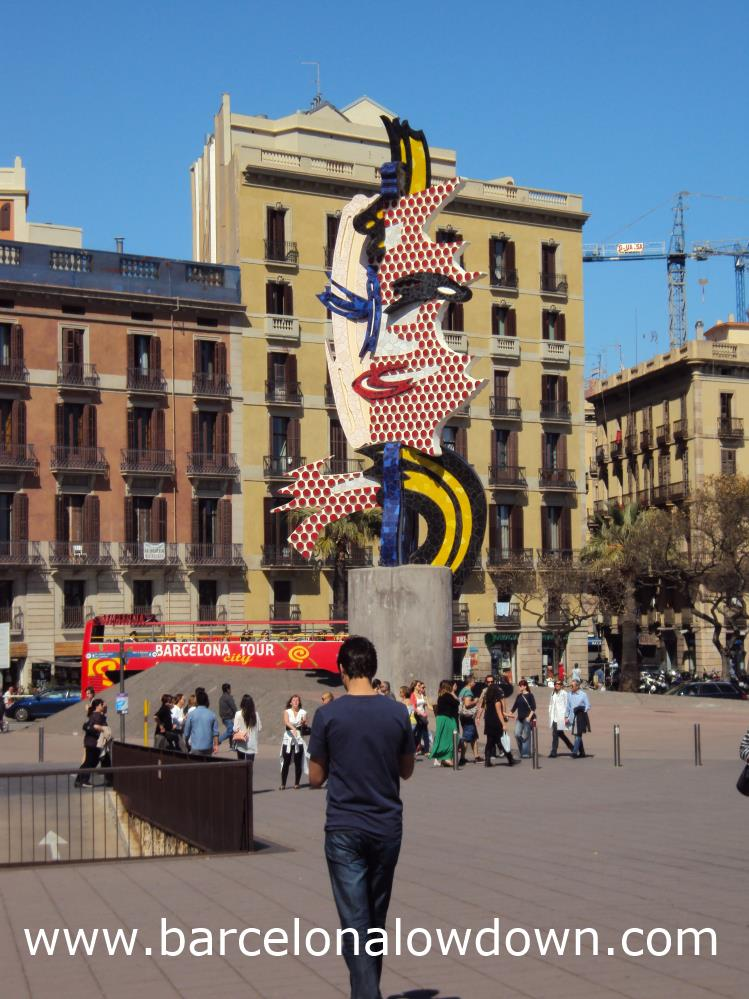 The Barcelonas Head statue by the old Port