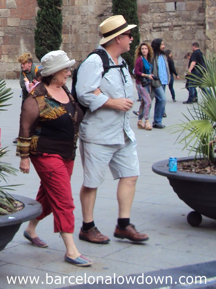 Tourists near Barcelona Cathedral May 2013