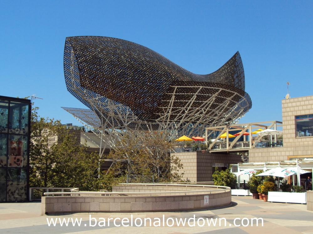 The giant fish sculpture which was designed by Frank Gehry for the 1992 Barcelona Olympics
