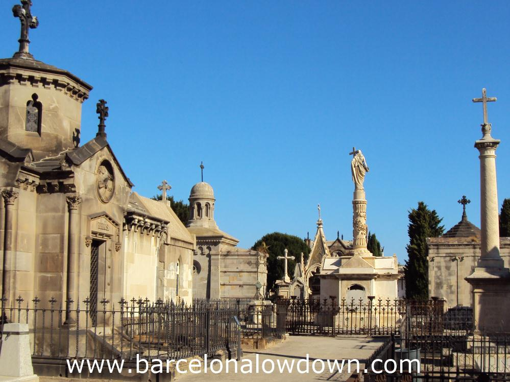 Pantheons, mausoleums, tombs and statues in the cemetery of poblenou
