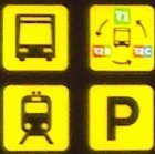 Signs to buses and trains
