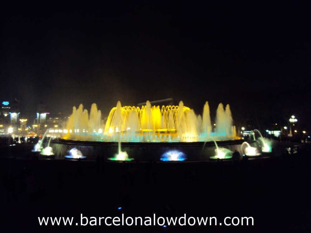 View of the Magic Fountain from the steps in front of the MNAC museum, Montjuic