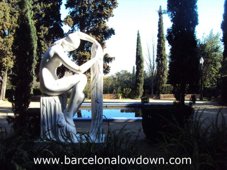 The Estival statue in the Laribal Gardens of Montjuic. The photo was taken from behind the statue looking out at the gardens
