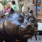 The head of the Raval cat sculpture by Botero