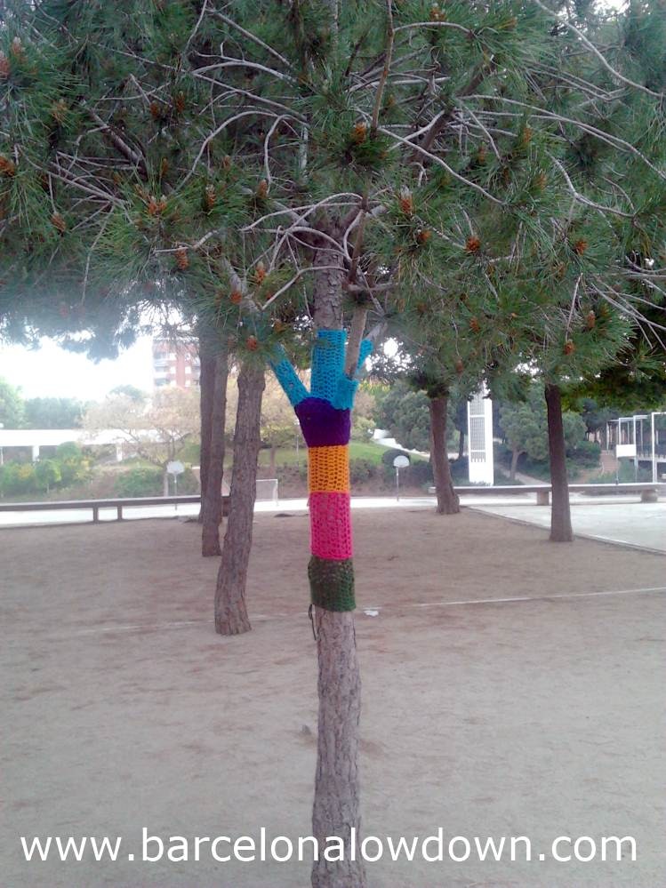 Another tree wearing a hand knitted jumper, street art in Barcelona