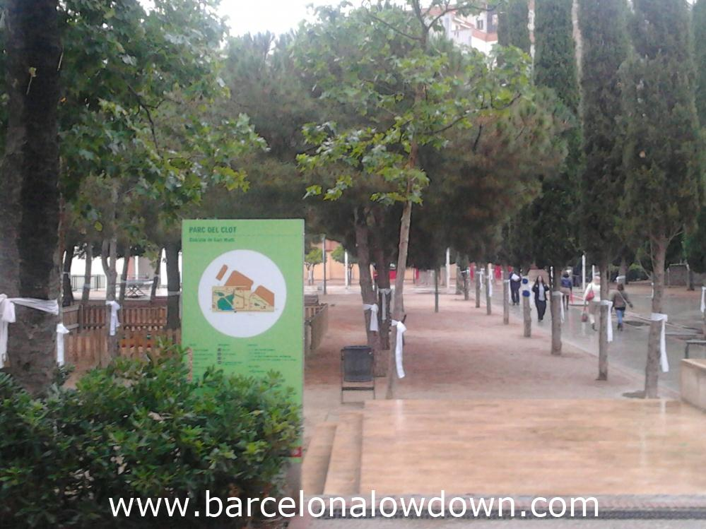 All the trees in one of Barcelona's parks have large cotton bows tied to them