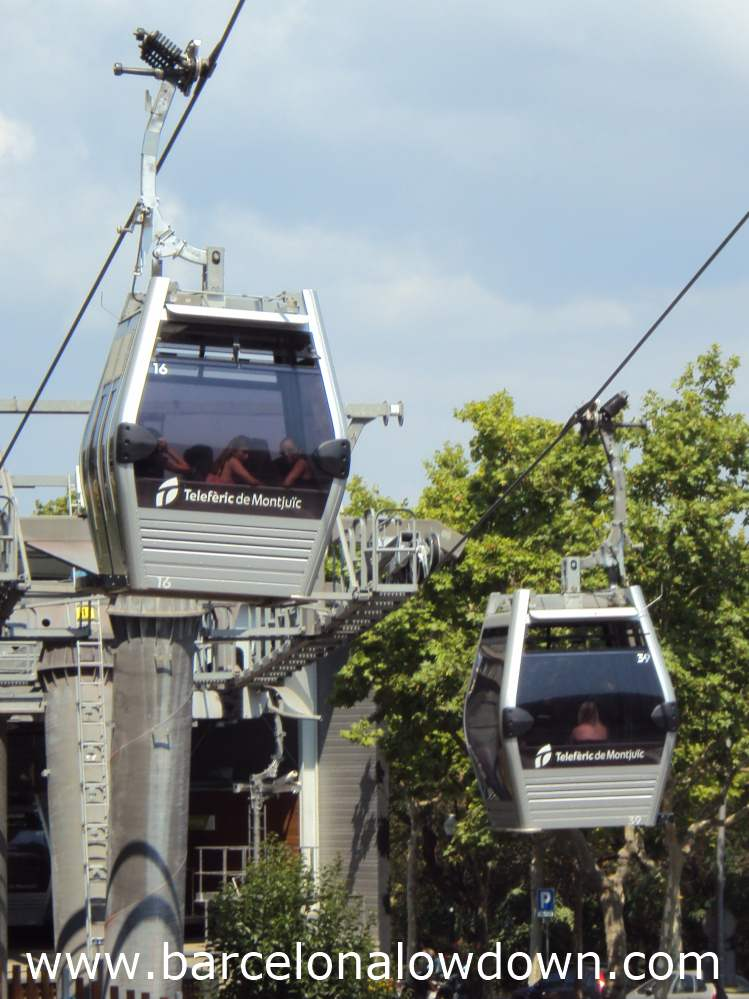 Two cabins of the montjuic cable car Barcelona