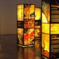 Illuminated display pillars in an exhibition of Art Nouveau in Barcelona