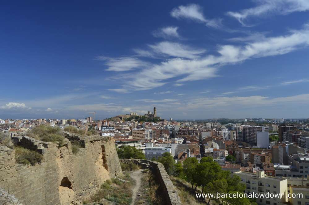 Stunning views of Lleida from the 12th Century Gardeny Castle which was buight by the Knights Templar. Lleida Catalonia Spain