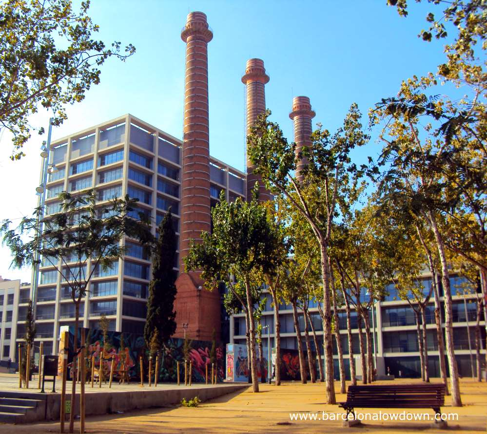 The chimneys which are all that remains of the old power station at el parc de les 3 chimeneies Barcelona
