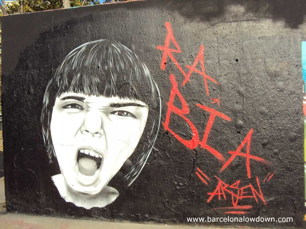 Face painted on a wall in Barcelona screaming anger