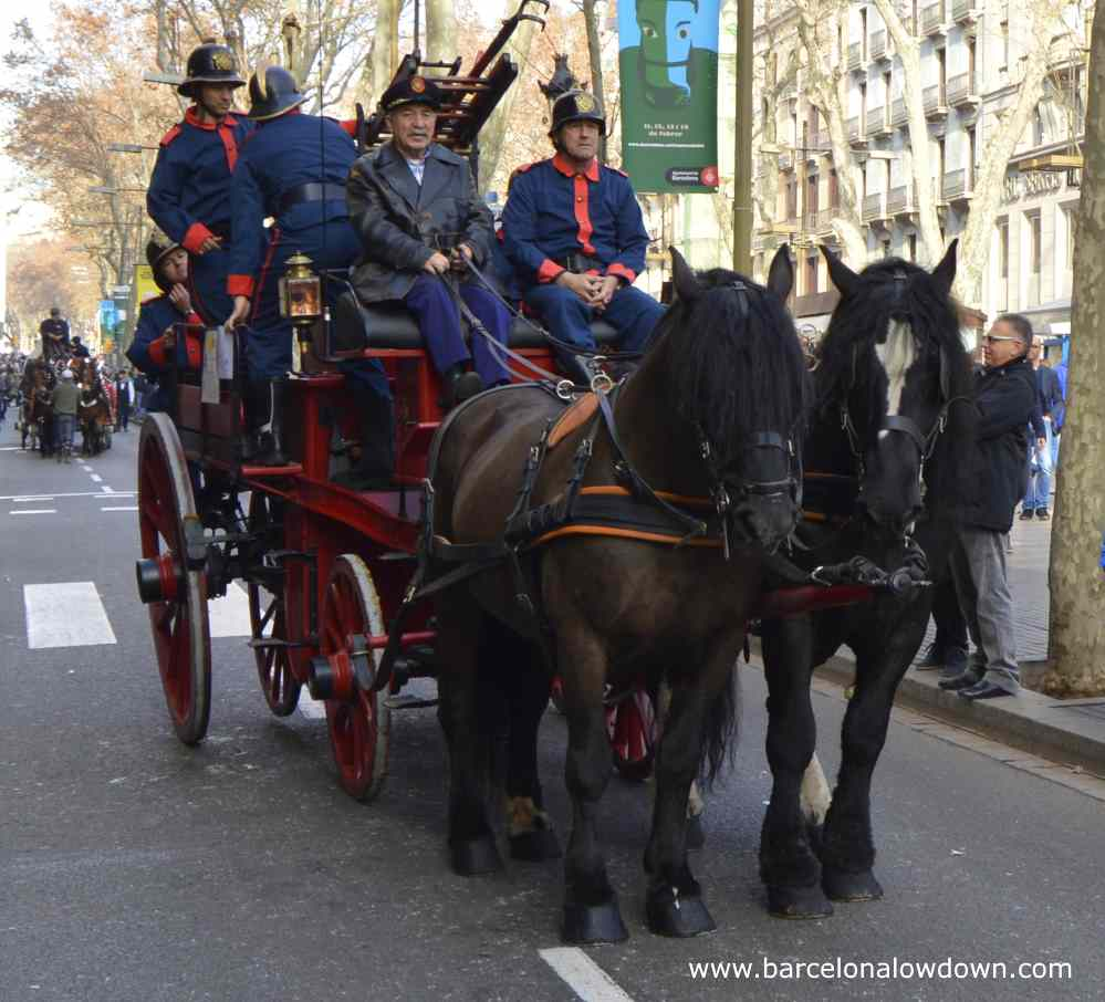 Antique fire engine Barcelona's St Anthony's day parade