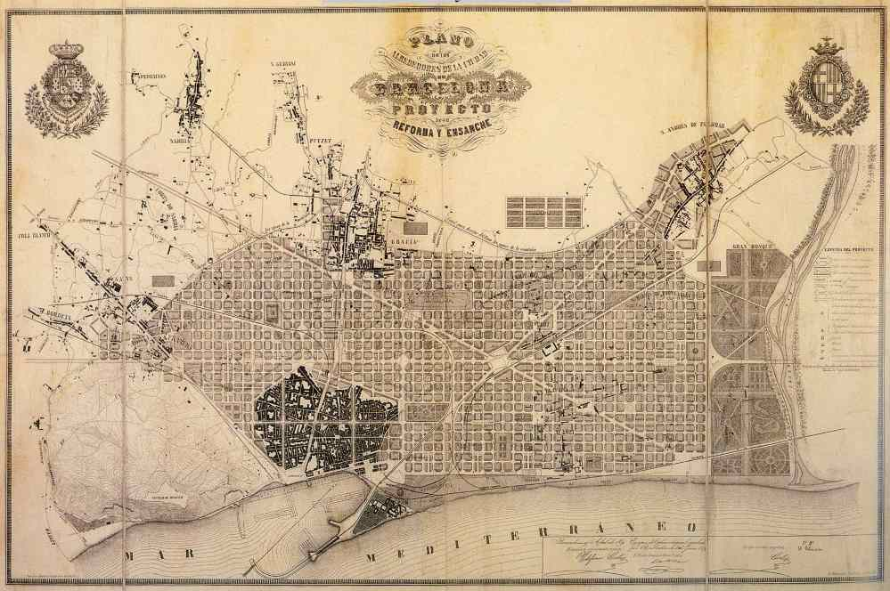 Ildefons Cerdà i Sunyer's original plan for the expansion of Barcelona