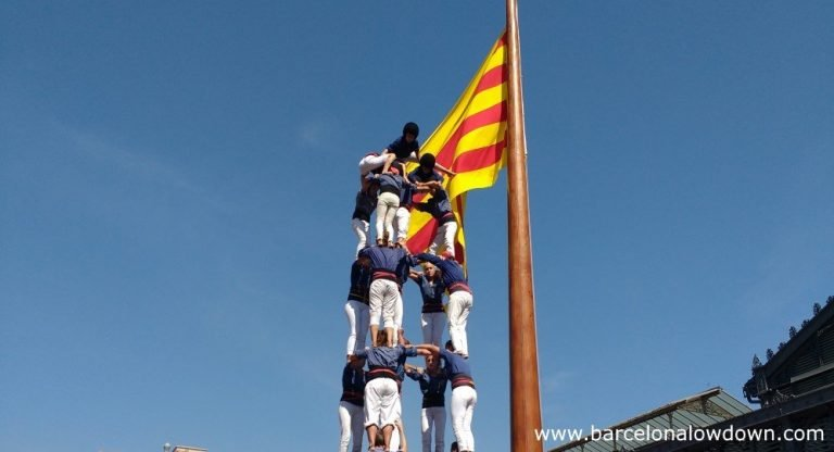 A castellers human tower in front of the Born Cultural Centre in Barcelona during the Diada de Catalunya celebrations 2016