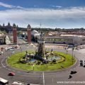 Panoramic view of Spain square, The National Palace and Montjuic mountain from the Arenes bullring turned shopping centre Barcelona