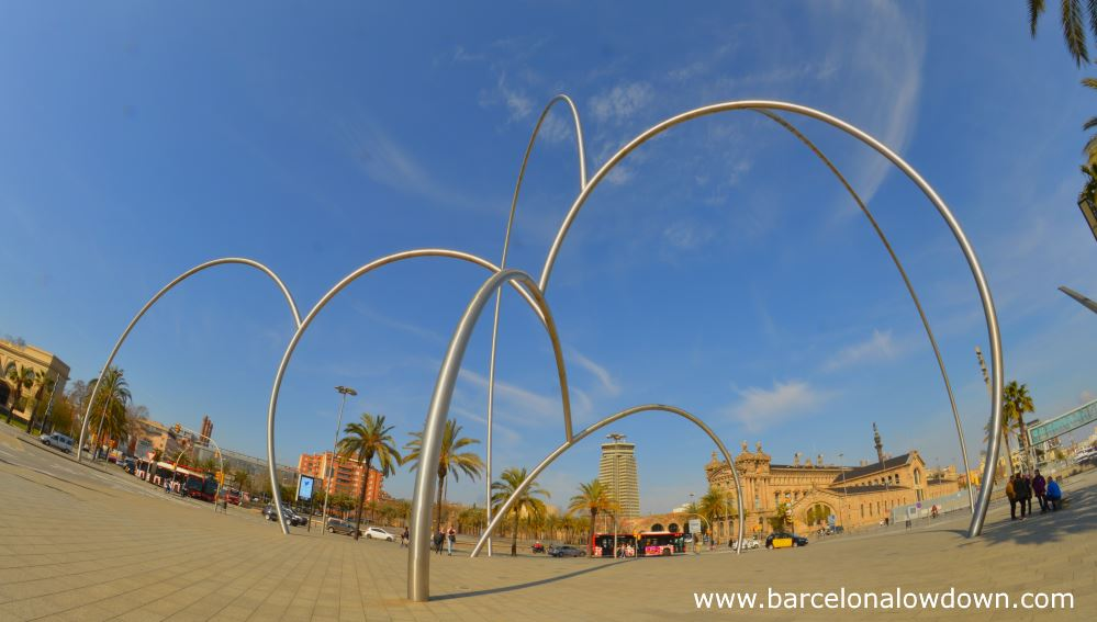 """Photo of the onates """"waves"""" statue in Barcelona taken with a fisheye lense"""