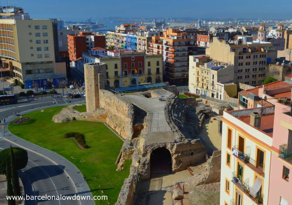 Tower, tunnels and seating area of the Roman Circus hippodrome in Tarragona