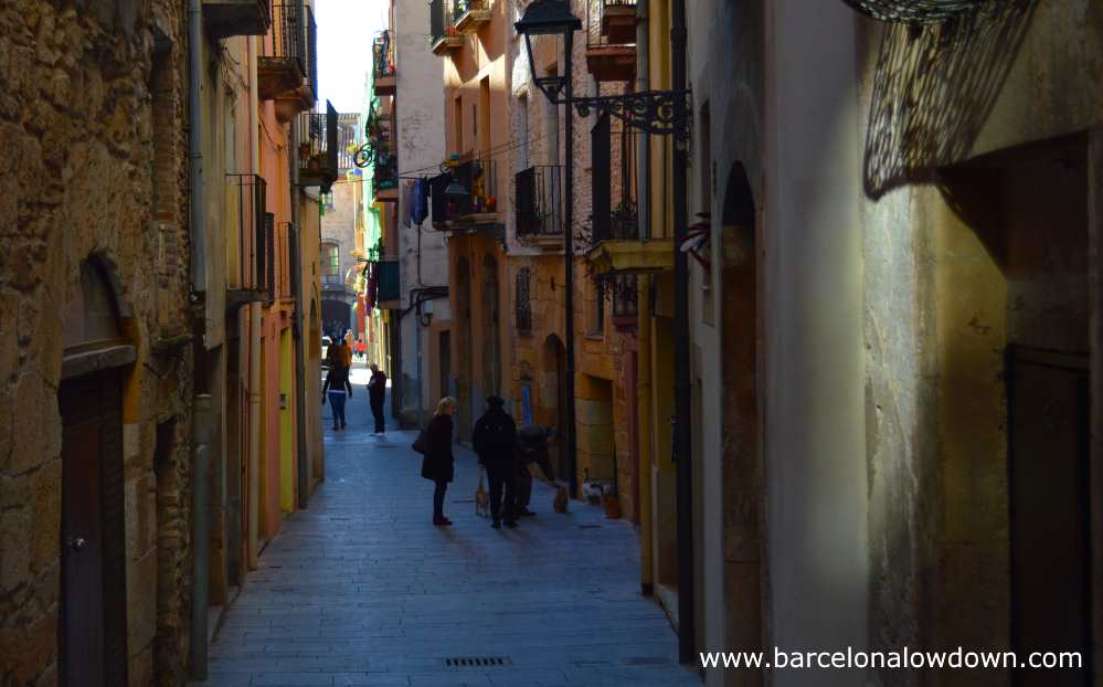 People and cats in a narrow street near to Tarragona's medieval cathedral
