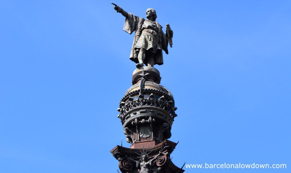 Close up photo of the statue at the top of the Christopher Columbus monument, Barcelona, Catalonia, Spain