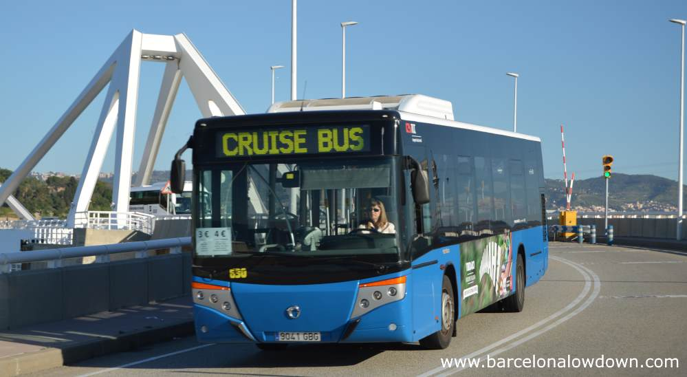 A blue Cruise Bus on it's way to pick up passenghers from the Barcelona Cruise Port Terminals