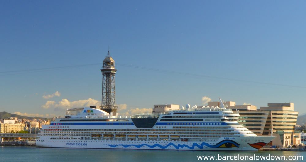 A cruise ship docked at the Moll de Barcelona World Trade center south pier