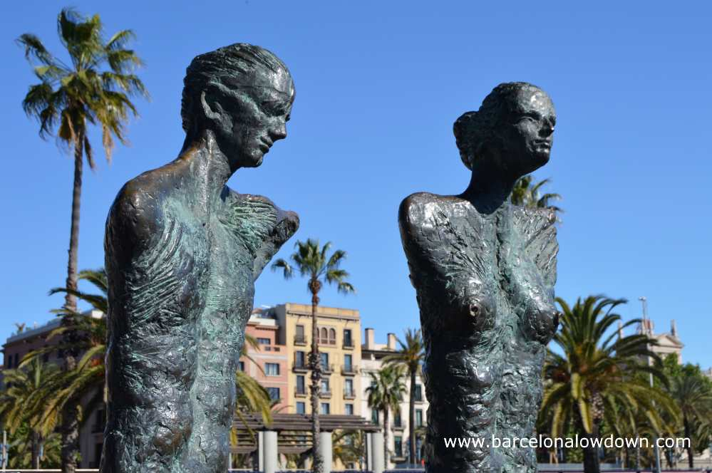 Close up of the couple statue, one of many statues located at Barcelona's seafront and boardwalk