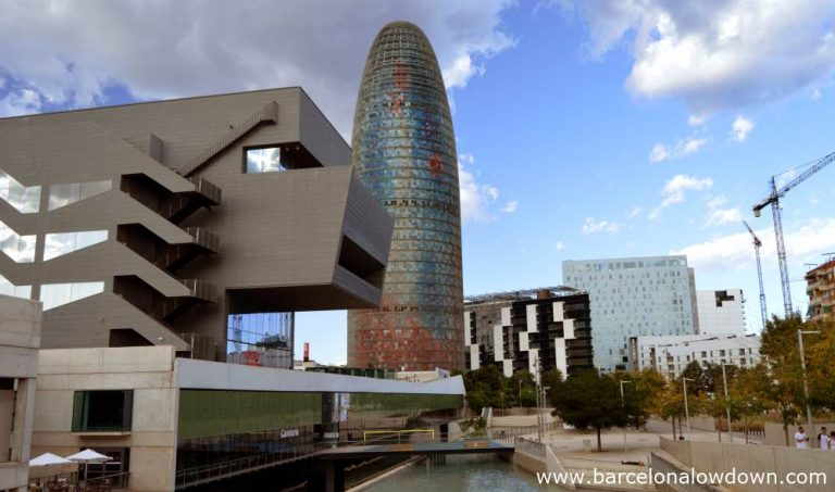 The Torre agbar and other skyscrapers and tall buildings in Barcelona's 22@ technological district in Poblenou