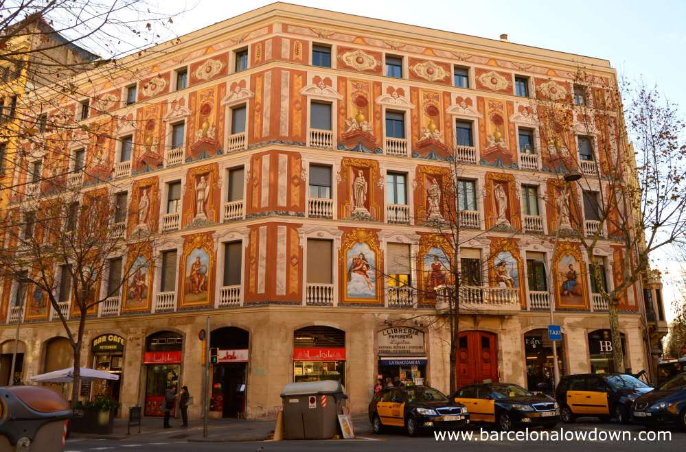 One of the 4 casas Cerdà houses with colourful frescoes painted by Raffaello Beltramini.
