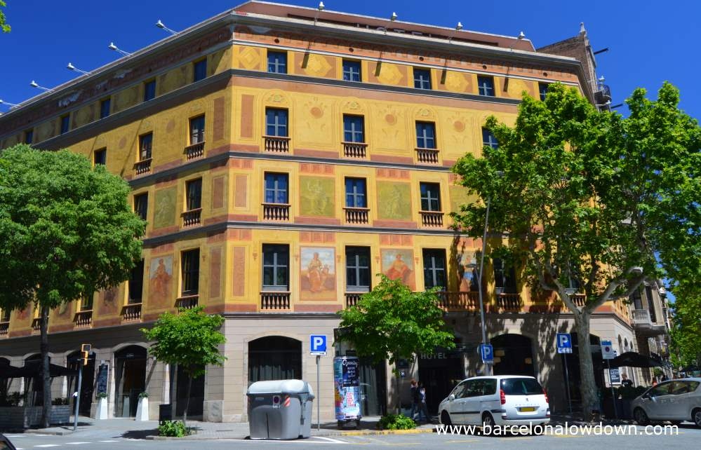 One of the painted Cerda houses in Barcelona which has now been converted into a 4 star hotel (Hotel Catalonia Eixample 1864 )