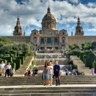 Group of Barcelona Instagrammers taking a selfie in front of the Palau Nacional