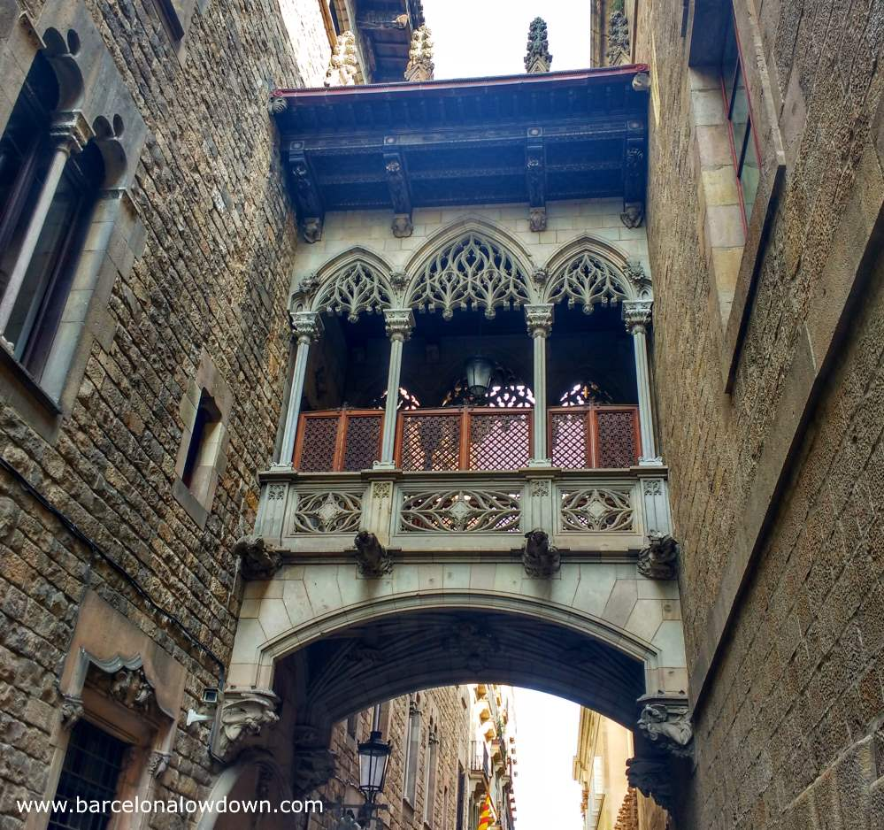 The Pont del Bisbe bridge in Barcelona's Gothic Quarter is a Gothic styles stone bridge which is sometimes compared to the bridge of sighs in Venice.