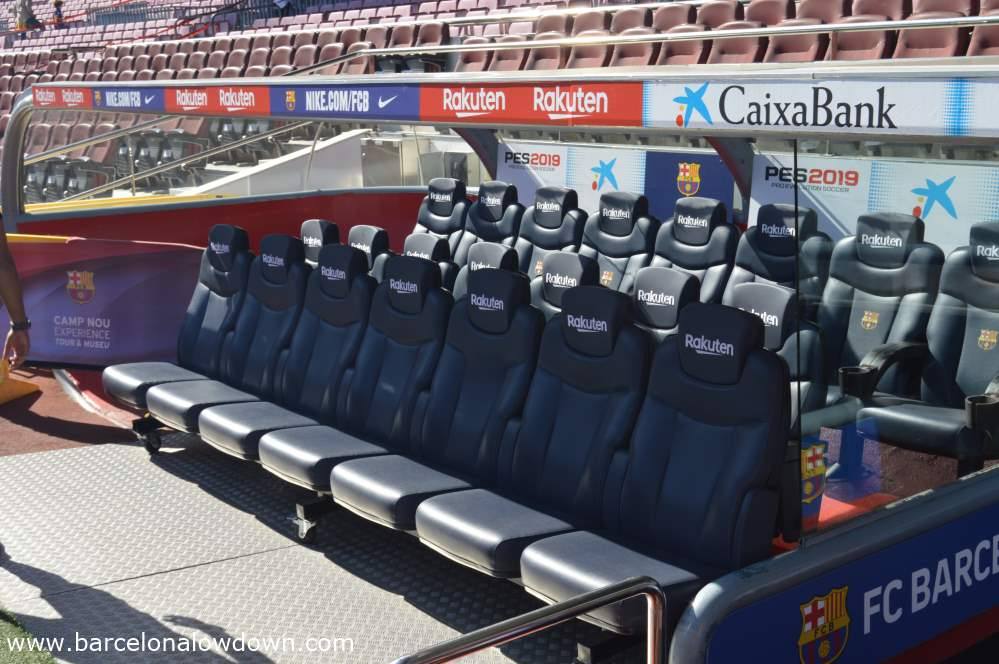 The dug out, a highpoint of the Barça stadium tour, you can actually sit in the same chairs where the players sit