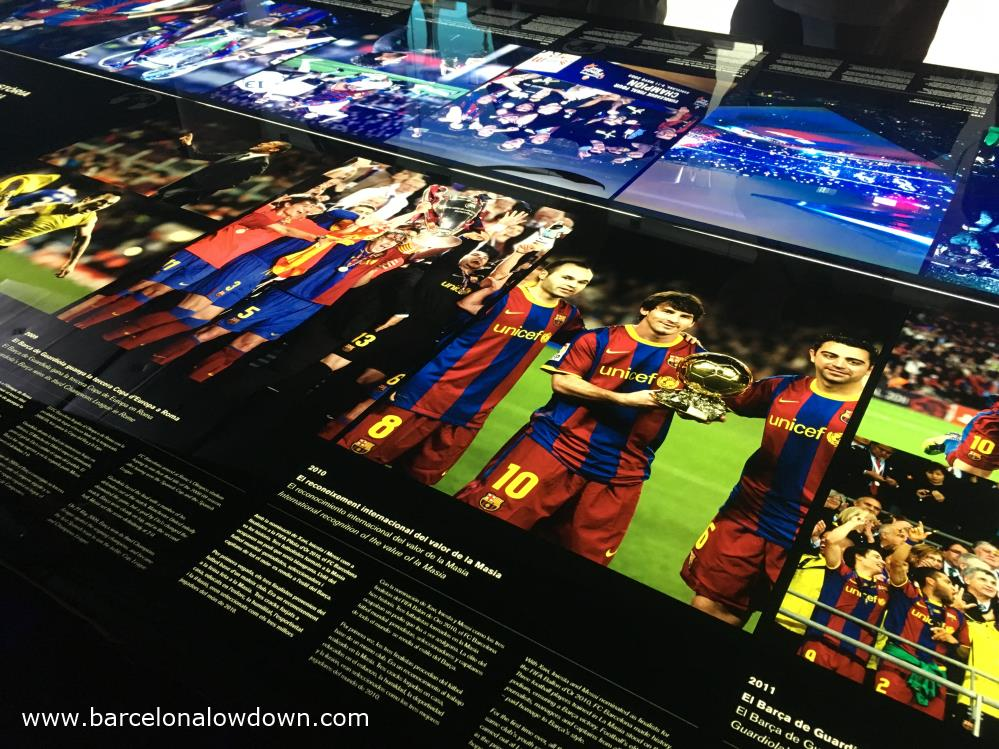 Images from 2009 and 2010 in the Barça footbal club museum: Messi, Iñiesta, Javi, Pujol et al...