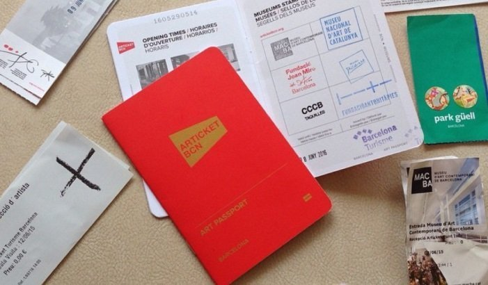 The Barcelona art pass or articket discount card surrounded by used tickest fro Barcelonas best art museums