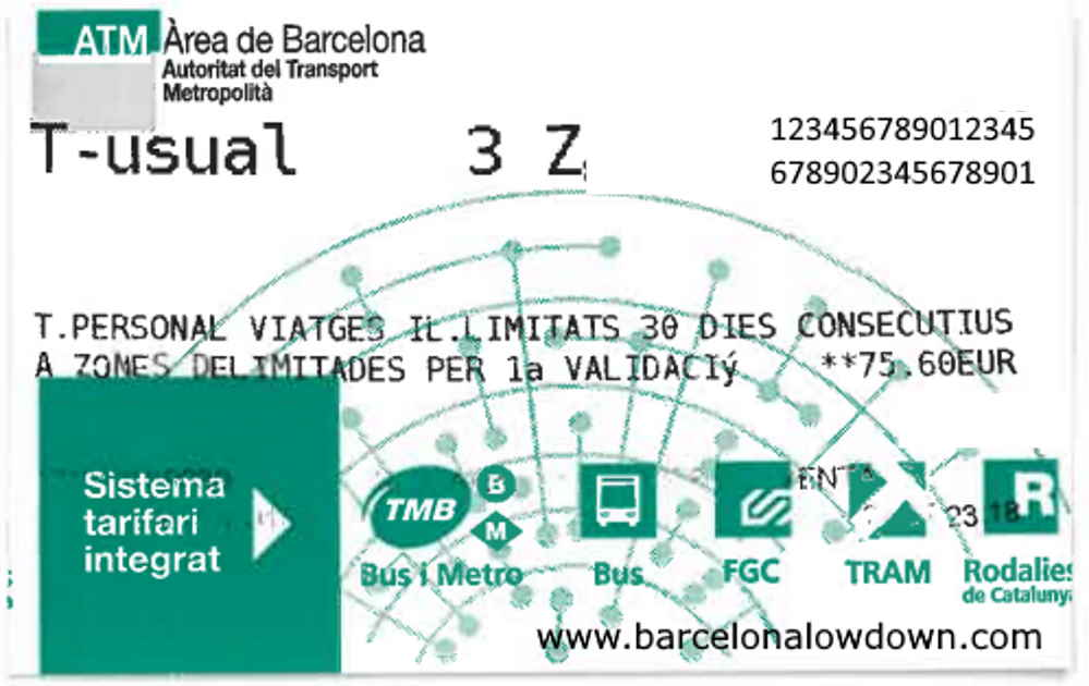 3 zone t casual travel pass barcelona