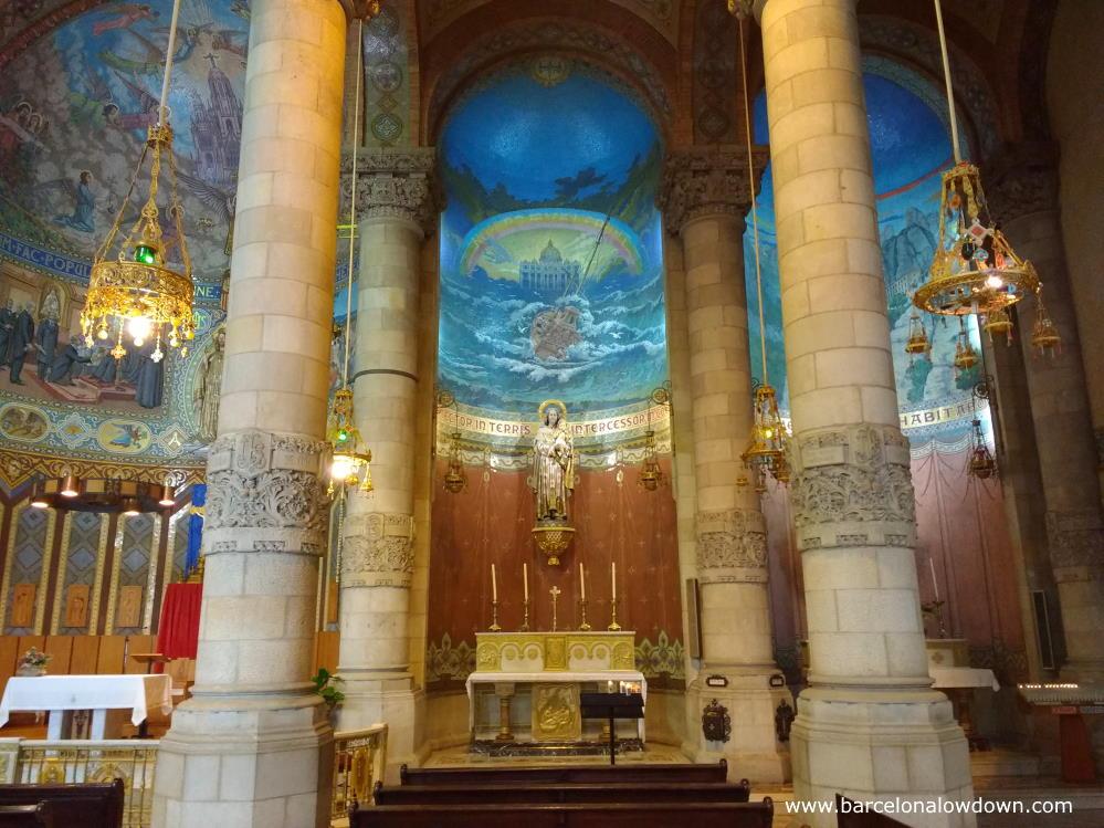 The colourful crypt of the Temple Expiatori del Sagrat Cor church in Barcelona