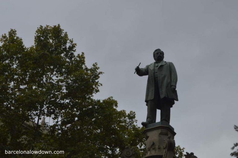 Bronze statue of the Catalan composer and politicain Josep Anselm Clavé in Barcelona, Spain