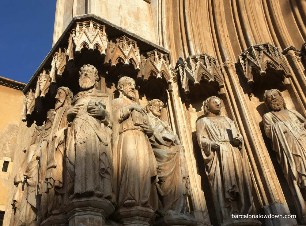 Medieval carvings at the entrance to Tarragona Cathedral