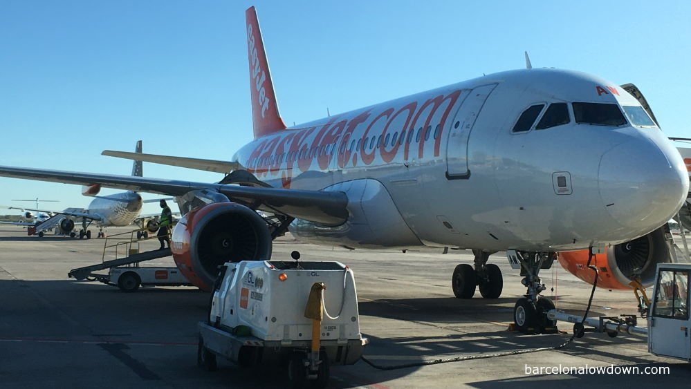 EasyJet and Vueling aeroplanes on the tarmac at Barcelona airport Terminal 2