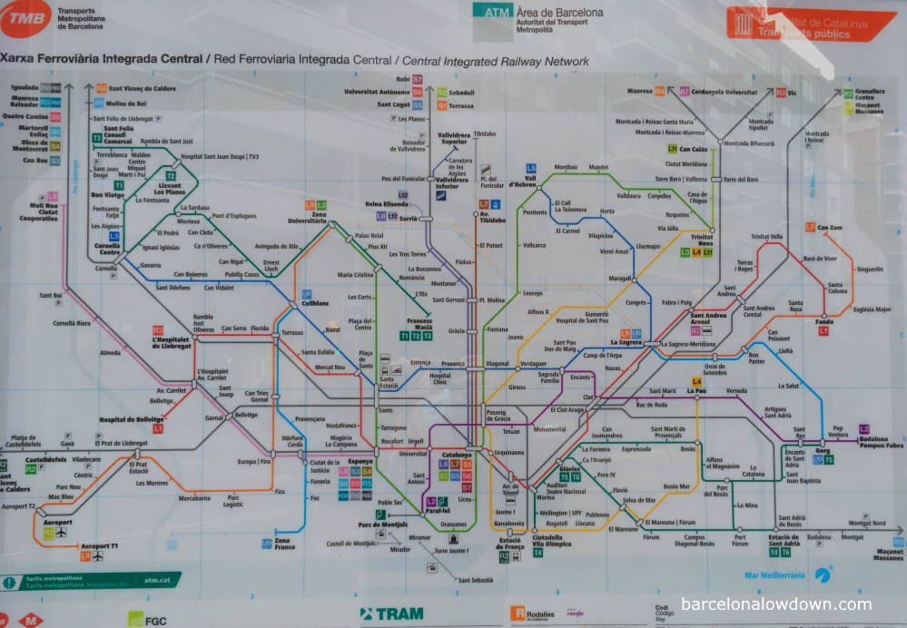 A map outside a metro station in Barcelona