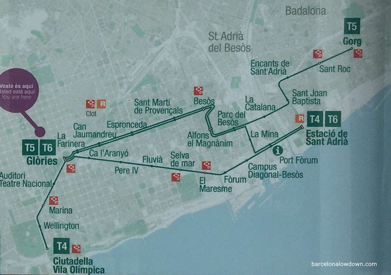 Map of the Trambesos tram network in Barcelona