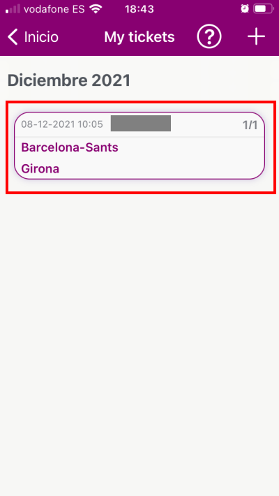 You can find your Spanish train tickets in this section of the app (My Tickets)