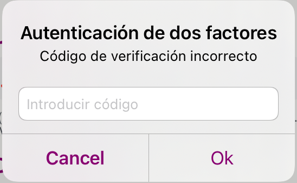 two factor authentication window on the RENFE ticket app