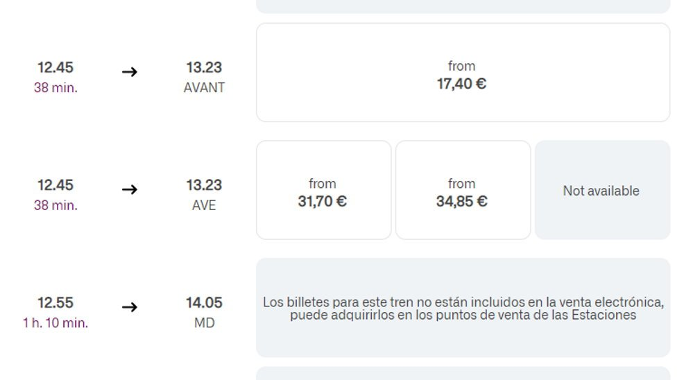 Comparing prices of Spanish trains on the RENFE website