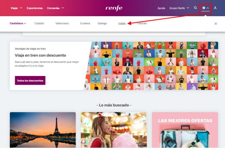 Screenshot showing how to select English on the RENFE website
