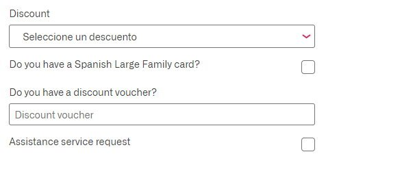 boxes where you can select a discount on the RENFE website