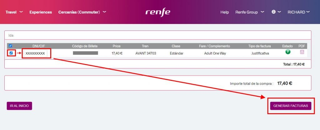 Click this button to generate an invoioce on the RENFE website